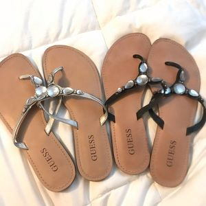 2 pairs of Guess Flip Flops